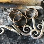 Perlering m/guld og tretårnet sølv