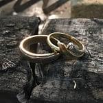 Hjertesmykke af to gamle ringe