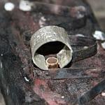 Diamant ring m/krøllet sølv