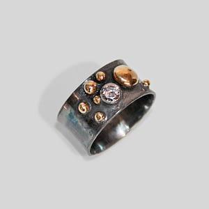Diamantring m/gammelt guld