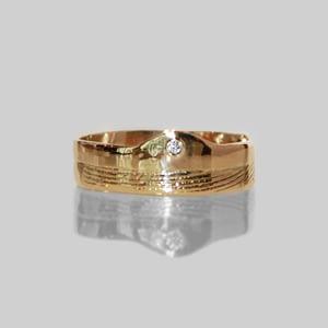 Herrering i guld m/diamant